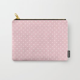 Mini White Love Hearts on Millennial Pink Pastel Carry-All Pouch