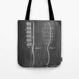 Hair Brush Patent - Salon Art - Black Chalkboard Tote Bag