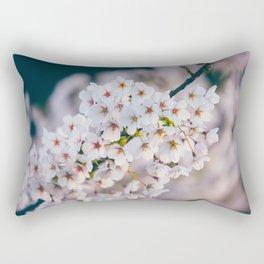 White Cherry Blossom On Branch Rectangular Pillow