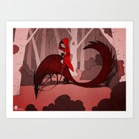 red riding hood Art Prints featuring Red Riding Hood riding by Gromy