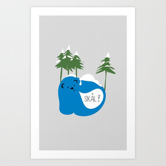 party animals - norwegian bear Art Print