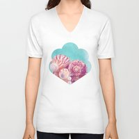 seashell V-neck T-shirts featuring Seashell Group by INA FineArt