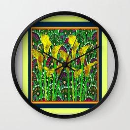 GREEN ART DECO YELLOW CALLA LILIES ART Wall Clock
