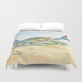 Colorful Blue Crab Duvet Cover