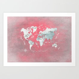 world map 143 red white #worldmap #map Art Print