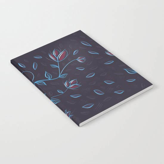 Abstract Glowing Blue Flowers Notebook