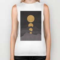 mountains Biker Tanks featuring Rise of the golden moon by Picomodi