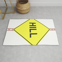 """""""Hill"""" - 3d illustration of yellow roadsign isolated on white background Rug"""