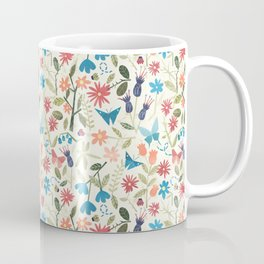 Origami insects and paper cut flowers Coffee Mug