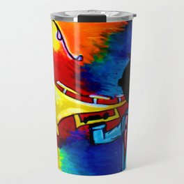 Silhouette Trumpet Player with piano keys Travel Mug