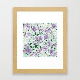 Vintage pastel green lavender watercolor floral roses Framed Art Print