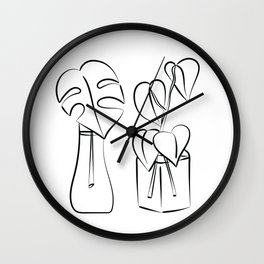 Plants in water bottles, black and white hand drawn illustration art Wall Clock