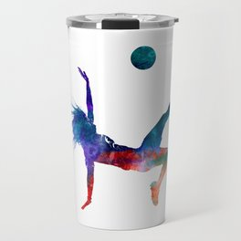 Woman soccer player 08 in watercolor Travel Mug