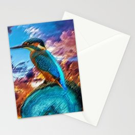 Kingfisher at Sunset on the African Plains Stationery Cards
