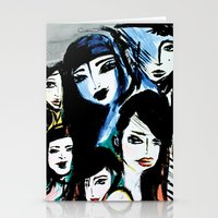 women Stationery Cards featuring Women by caribarbachano