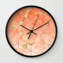 Soft Peach Gradient Cubes Wall Clock