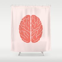brain Shower Curtains featuring Brain by Yellow Chair Design