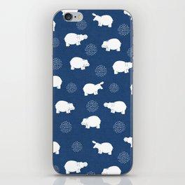 Happy Safari Hippo - Blue iPhone Skin