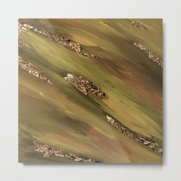 Khaki Paint Brushstrokes Gold Foil Abstract Texture Metal Print