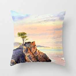 Pebble Beach Lone Cypress Tree Throw Pillow