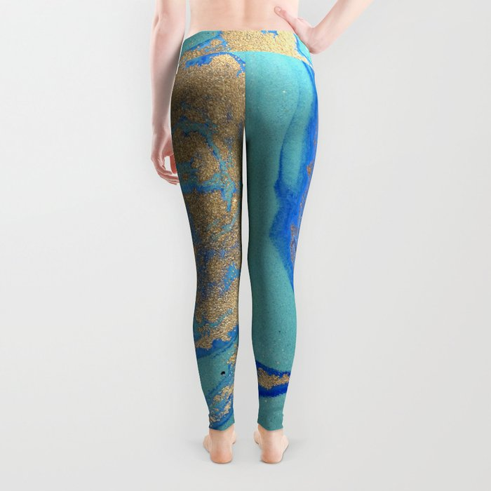 marble stone turquoise and gold Leggings