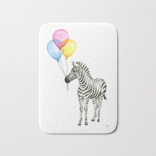 Zebra with Balloons Watercolor Baby Animals Bath Mat