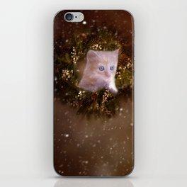 Christmas kitten watching the snow iPhone Skin