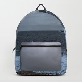 Grey day at Portskerra, Melvich Bay in Sutherland, Highland, Scotland Backpack