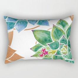 Watercolour Succulents and Copper, Watercolor Succulents and Copper Rectangular Pillow