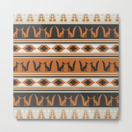 Foxes and ethnic shapes Metal Print