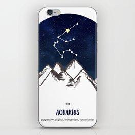 Astrology Aquarius Zodiac Horoscope Constellation Star Sign Watercolor Poster Wall Art iPhone Skin