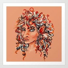 Female elf profile 1d Art Print