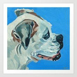 Holly the White Boxer Dog Art Print