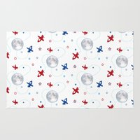 airplanes Area & Throw Rugs featuring Little Toy Airplanes on White by Art Tree Designs