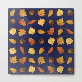 Leaf Lovers in Navy Metal Print