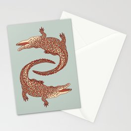 Crocodiles (Calm Beige and Gray Palette) Stationery Cards