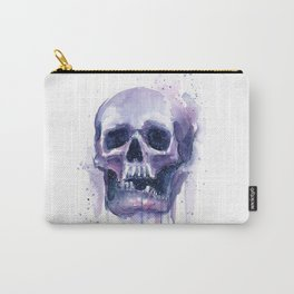 Skull in Watercolor Galaxy Space Carry-All Pouch