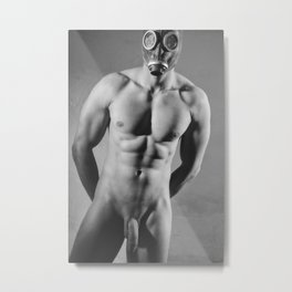 Photograph Erotic fetish style with Nude Male man wearing gasmask #E0030 Metal Print
