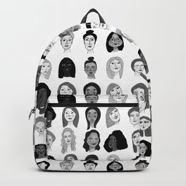Women faces in black and white Backpack