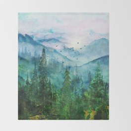 Spring Mountainscape Throw Blanket