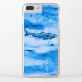 Great white in blue Clear iPhone Case