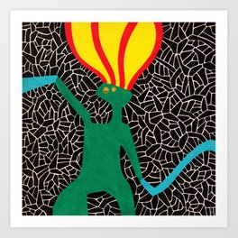 Jumping pony in fire Art Print