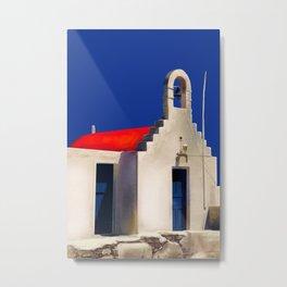 The Old Bell House - Santorini, Greece - Minimalist Travel Painting Metal Print