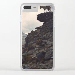 Vintage wolfdog landscape Clear iPhone Case