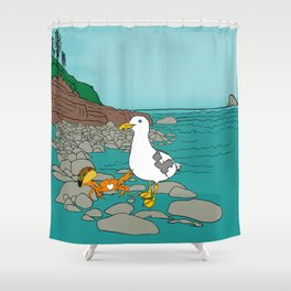 Crabarita & Gerry the Seagull from Flock of Gerrys Gerry Loves Tacos by Seasons Kaz Sparks Shower Curtain