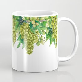Watercolor bunches of white grapes hanging on the branch Coffee Mug