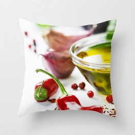 Red Chili Peppers with herbs and spices Throw Pillow