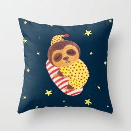 Sleeping Like a Sloth Throw Pillow