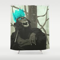 holographic Shower Curtains featuring Uneasy Lies the Head That Wears the Holographic Crown by Alex Craig