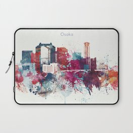 Colorful Watercolor Osaka skyline design Laptop Sleeve